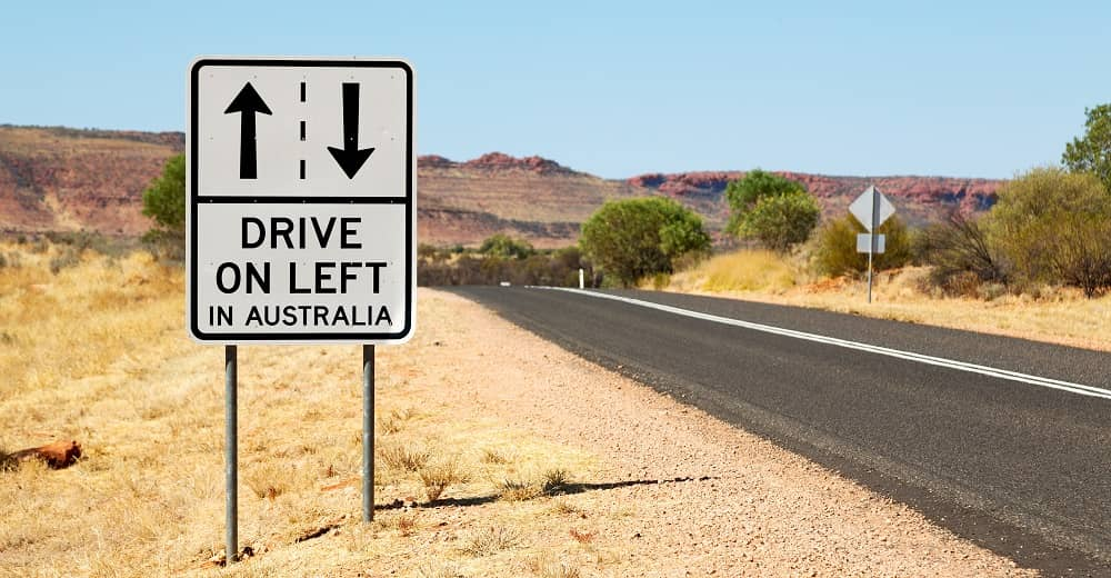 You drive on the left in Australia