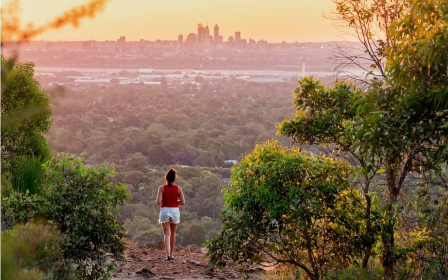 View of Perth skyline seen from Perth Hills, Kalamunda.